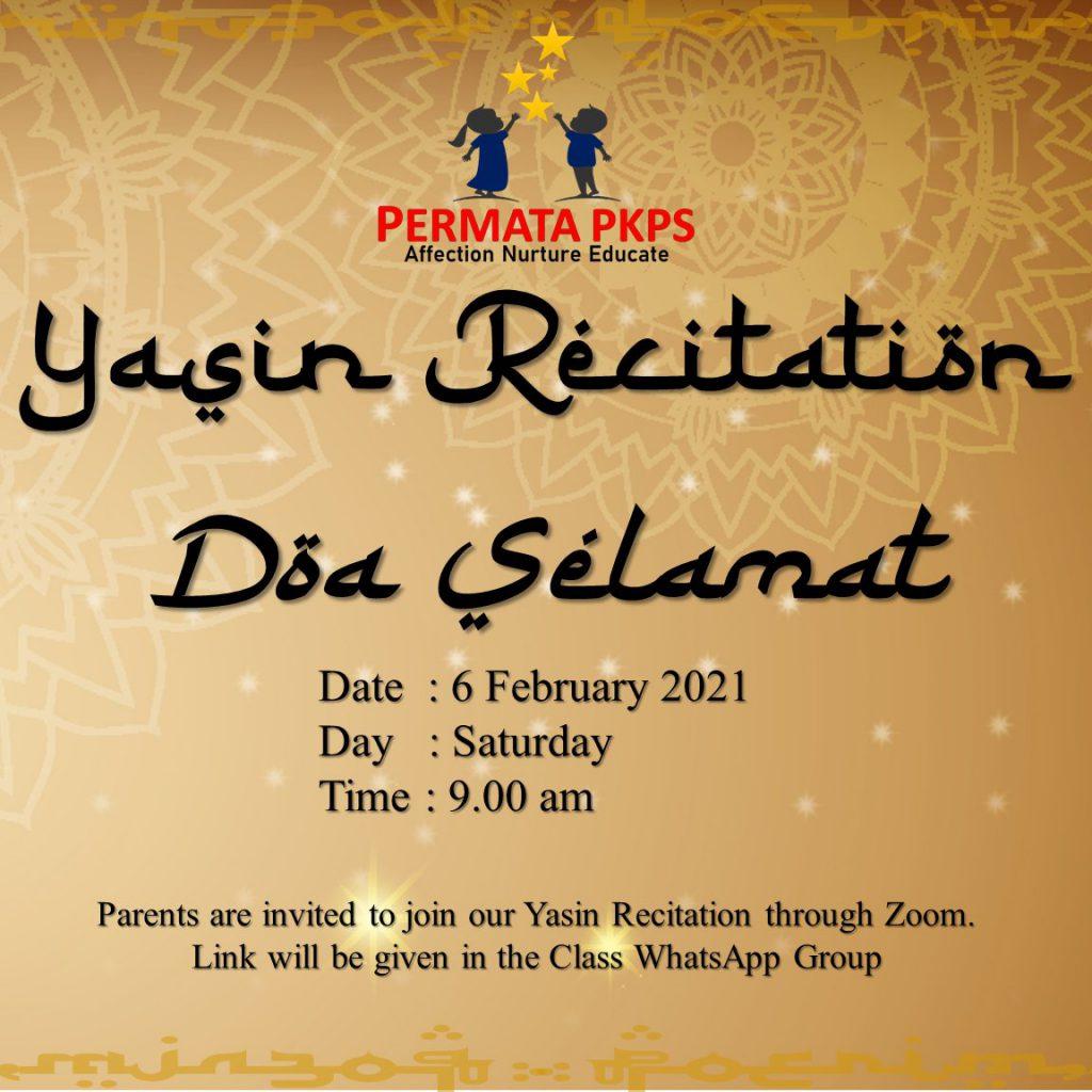 Permata PKPS'21|February-Yasin Recitation & Doa Selamat