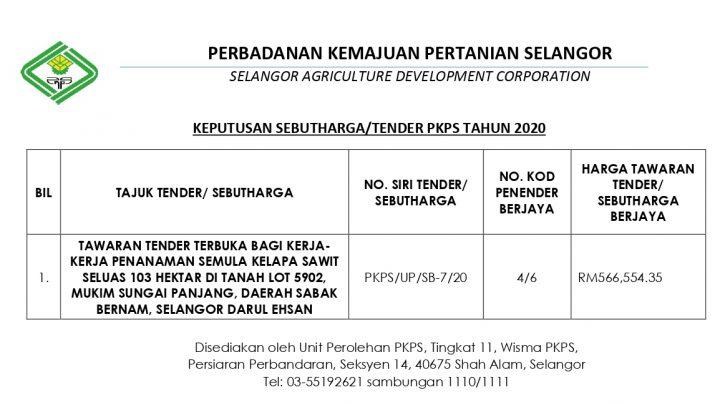 KEPUTUSAN SEBUTHARGA / TENDER PKPS TAHUN 2020